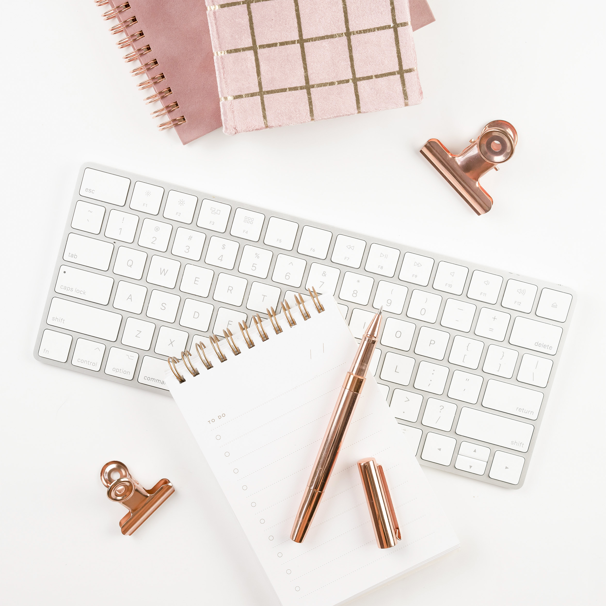 keyboard with notepad and pen